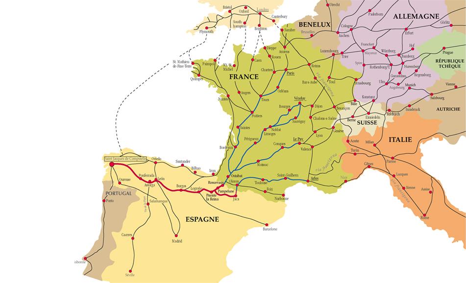 Les chemins de Compostelle en Europe occidentale